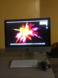 silver Aluminum iMac with Apple keyboard