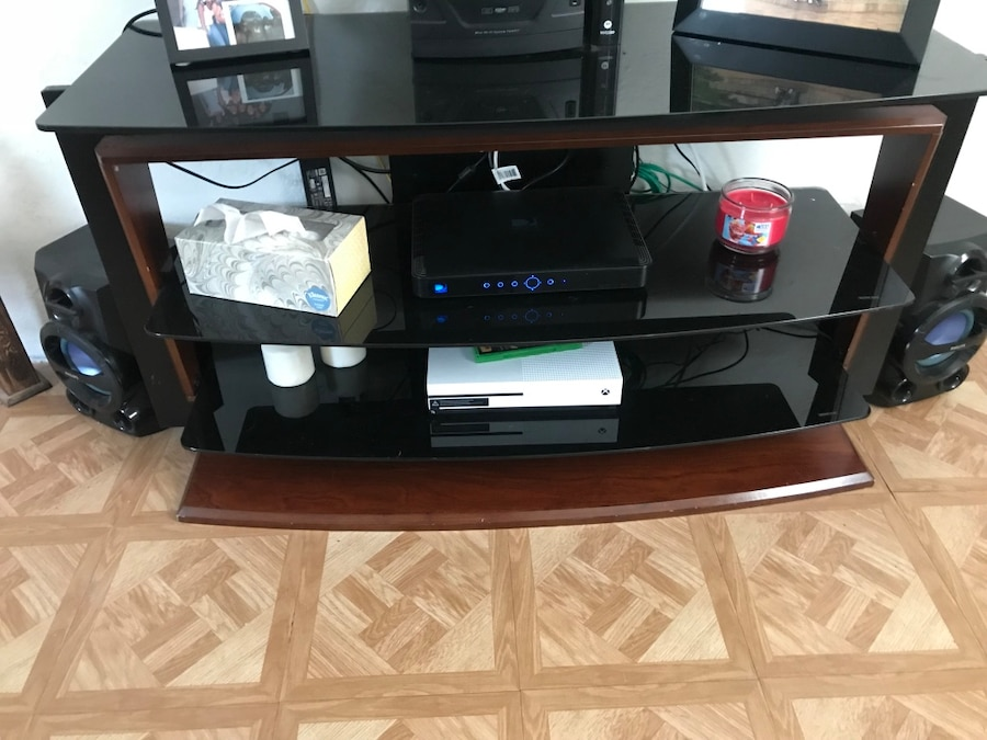 black wooden TV stand with flat screen television for sale  Miami