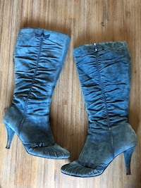 pair of blue suede knee-high boots Laval, H7R 4V2