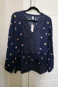New Navy peplum blouse Calgary, T3K