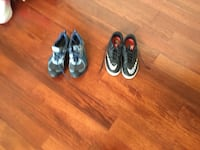 Two pairs of black and red nike basketball shoes