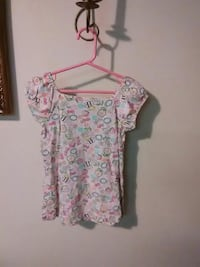 white, pink, teal, and green floral boat-neck cap-sleeved shirt
