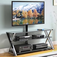 3-in-1 Black TV Console, Black Glass Shelves Charlotte, 28208