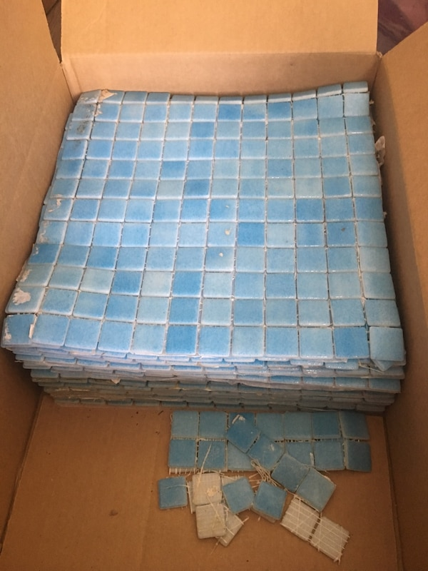 Tiles for mosaic artists or crafters  A bit dirty but not used  Leftover  from project  25 square feet total  Each sheet is one square foot, 25  sheets