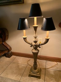 Candelabra lamp with 3 small black shades! Great quality!!