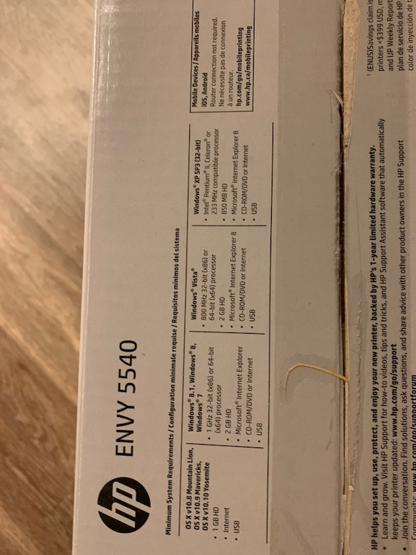 Used twice- Wifi HP ENVY 5540 all in one printer