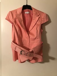 Pink New York and company short sleeve jacket with belt DeSoto, 75115