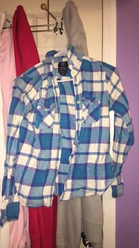 Blue and white American eagle flannel