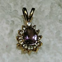 Gold plated Amethyst and CZ diamond pendant Sparks, 89431