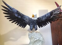 Black and white bald eagle figurine
