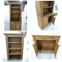 2 Hand-crafted Wooden Bookshelves w/ Lower Cabinet
