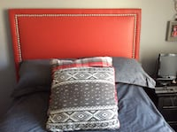 Red leather double headboard