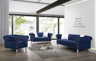 3 PCS TUFTED VELVET LIVING ROOM SET ! AVAILABLE IN 5 COLORS! NEW !