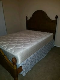 Queen mattress, spring box and bed frame