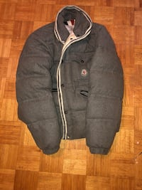 Gray mens moncler button-up jacket