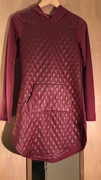 Red leather long sleeve hooded shirt Madison, 53704