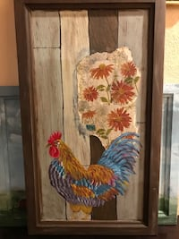 brown, blue, and gray rooster and flower panel decor Reno, 89511