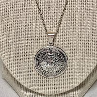 Vintage Sterling Silver Aztec Calendar Pendant with Sterling Chain Ashburn