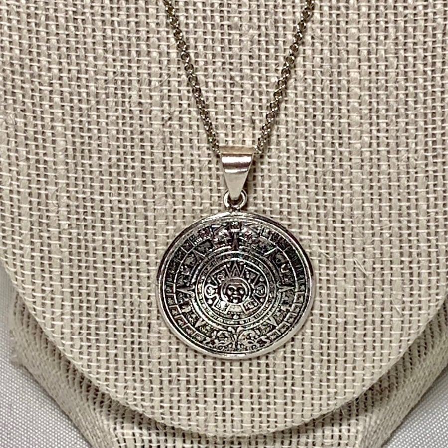 Vintage Sterling Silver Aztec Calendar Pendant with Sterling Chain