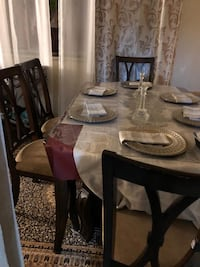 rectangular brown wooden table with four chairs dining set Toronto, M4K 2X5