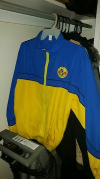 blue and yellow zip-up jacket