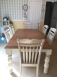 Rectangular brown wooden table with six chairs dining set RANDOLPH