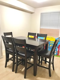 High end bar height dining table with 6 chairs New Westminster, V3M 5L8