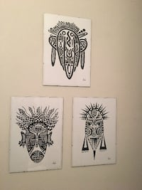 Tribal Mask Series 3 Artwork Prints Framed Aigaleo