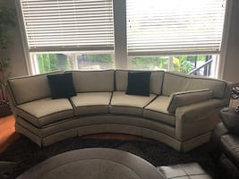 2 PIECE moon shaped sectional. So beautiful but we don't have room for it any longer. Paid over $5000. Exceptional quality.