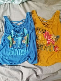 two blue and yellow crew-neck shirts Daniels, 25832