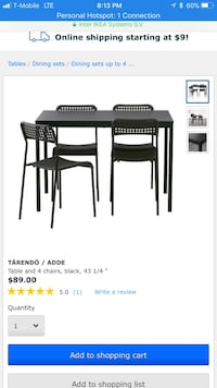 rectangular black wooden table with four chairs dining set screenshot Rockville, 20850