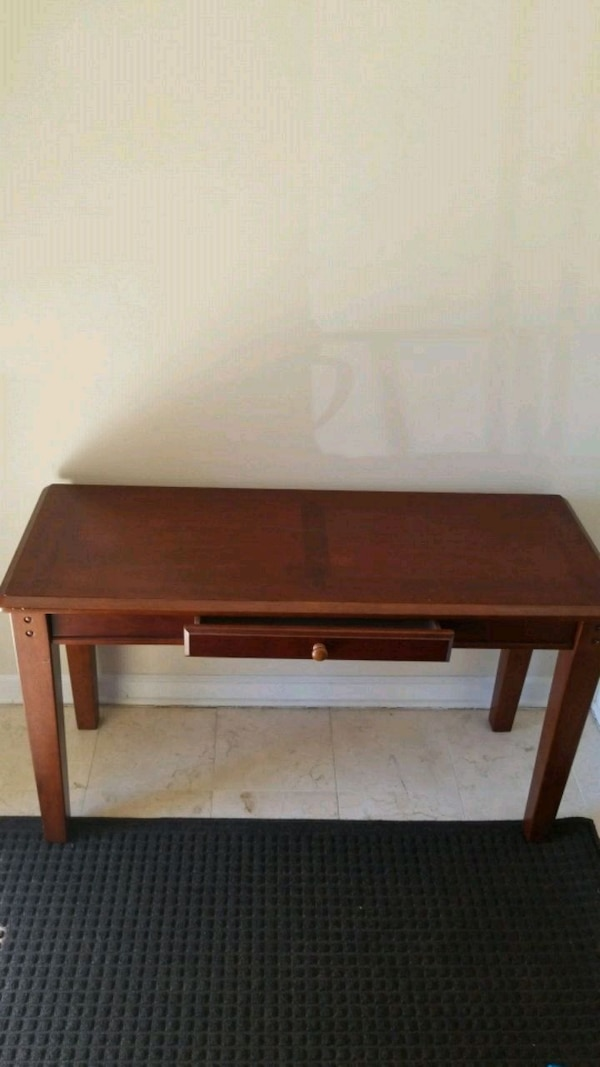 brown wooden 2-layer table