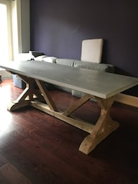 7 foot Restoration Hardware concrete top table with teak base Toronto, M5N 1W2