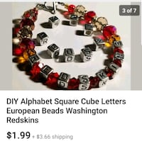 "Washington ""Redskins"" block euro charm beads Lexington Park, 20653"