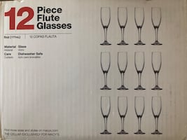 12 Piece Champagne Flute Glasses ready for your Family parties.