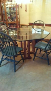 round brown wooden table with four chairs dining set Carver, 02330