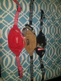Red  Khaki  Black Supreme Fanny pack bag