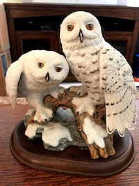 Two white owls ceramic figurine Ashburn