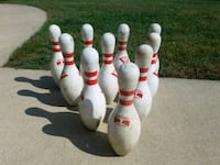 white-and-red bowling pin set Mount Zion, 62549