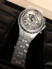 round silver-colored chronograph watch with link bracelet Lutz, 33549