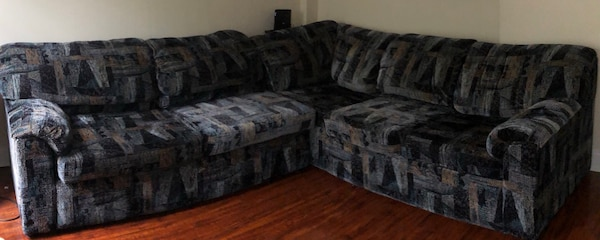 Sectional sofa with pullout bed.