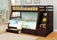 brown wooden bunk bed with mattress Mississauga
