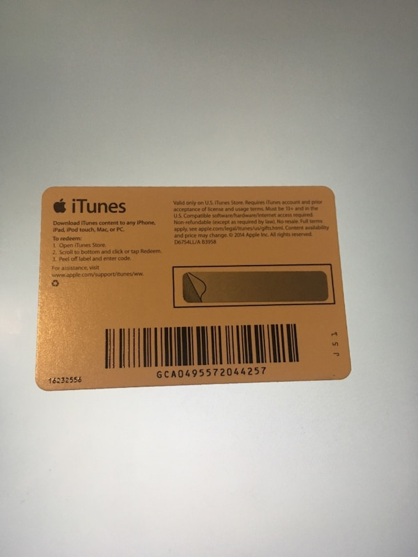 $10 Itunes/App Store Gift Card