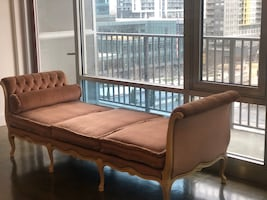 Vintage Blush rolled arm upholstered bench
