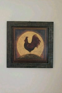 brown wooden framed painting of a rooster 69 km