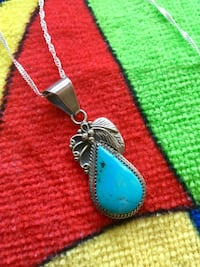 Sterling Silver necklace  with Silver Grape leave and blue gemstone pendant / LOVE SILVER * Alexandria, 22311