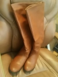pair of women's brown leather knee-high boots Surrey