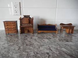 Wooden Doll Furniture, Piano winds up and plays music. These do have some surface wear/marks from play. $10 PU Morinville