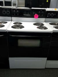 white and black electric coil range oven Ranson, 25438