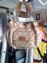white and brown Coach monogram shoulder bag Duluth, 30097